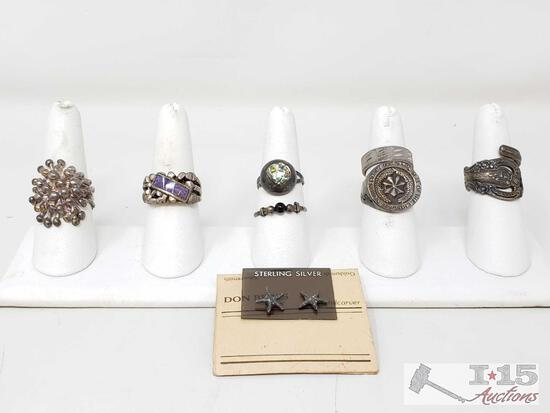 7 Sterling Silver Rings And Sterling Silver Earrings