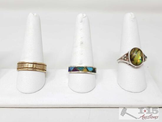 2 Sterling Silver Ring And 1 Costume Ring