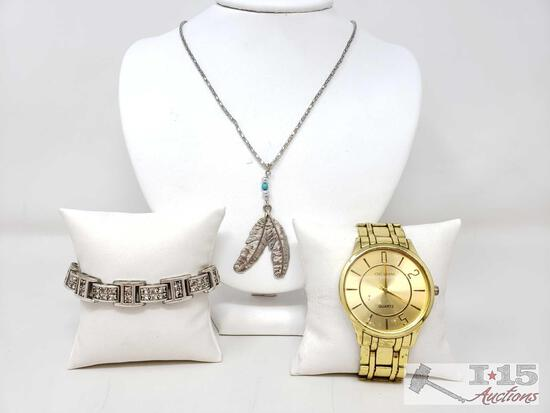 Costume Necklace, Bracelet, And Watch