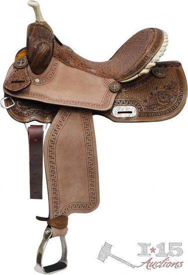 """14"""" Barrel Style Saddle with Brown Filigree Seet and Tooling."""