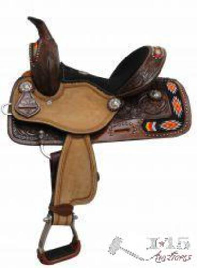 """BRAND NEW 12"""" Double T Youth/Pony embroidered Navajo saddle."""