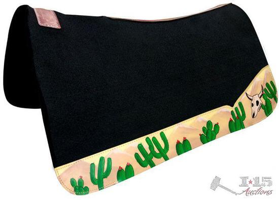 """Showman ... 32"""" x 31"""" Black felt saddle pad with hand painted cactus and skull wear leathers."""