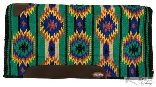 "Showman... 36"" x 34"" 100% woven New Zealand heavy wool top pad with memory felt bottom."