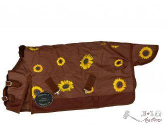 """FOAL/MINI 36""""-40"""" Waterproof and Breathable Showman ... Brown with sunflower Print Turnout Blanket"""