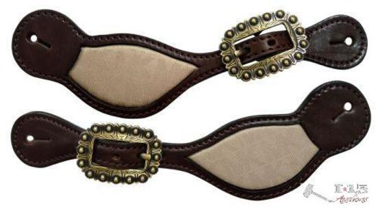 Klassy Cowgirl Argentina Cow Leather Spur Strap with Re-Purposed Michael Kors inlay.