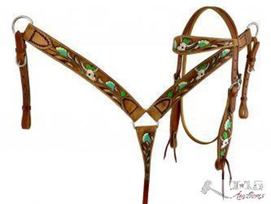 Showman ... Hand painted skull, flower and cactus headstall and breast collar set