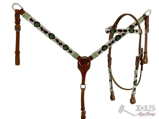 Showman? Medium oil leather browband headstall with beaded cactus design.