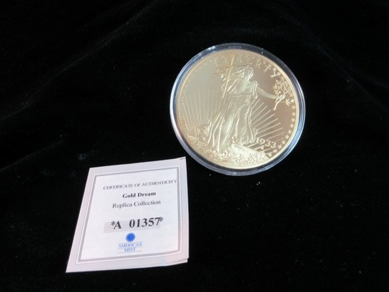Gold Dream Replica Collection Large 24K Gold Overlay Coin