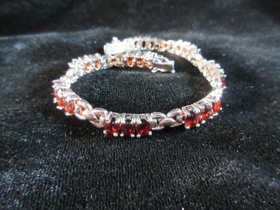 Nice Garnet Gemstone Sterling Silver Bracelet