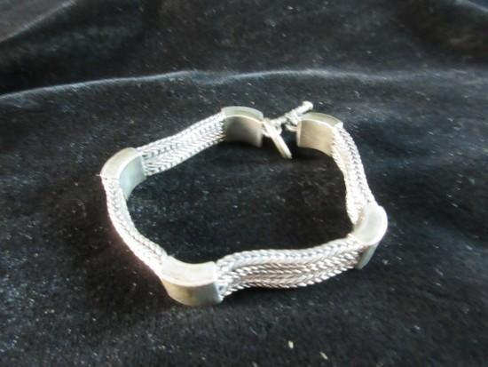 Vintage BA Sterling Silver Heavy Toggle Bracelet
