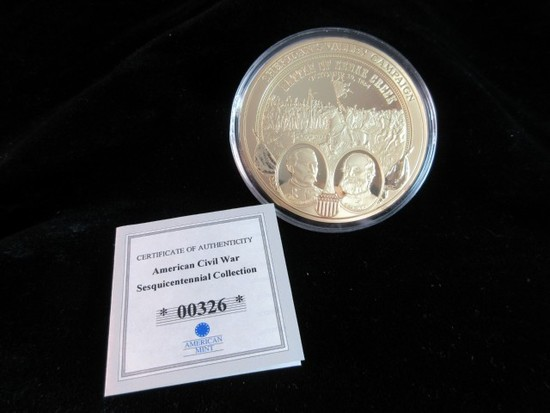 Large Civil War Collection 24K Gold Plated Coin