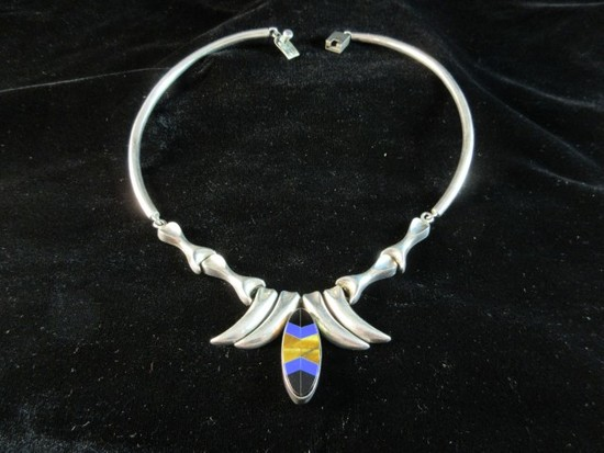 Really Nice Vintage Taxco Mexico Sterling Silver Inlay Heavy Necklace