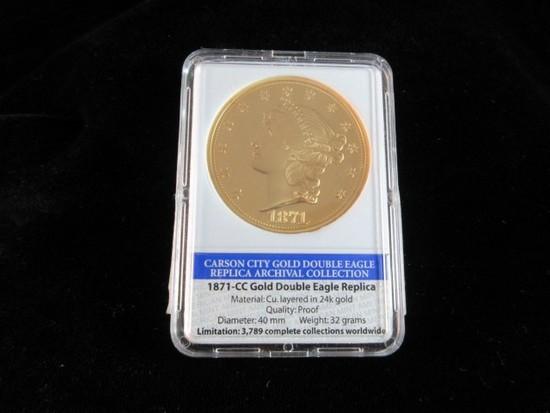 1871 CC Replica 24K Gold Overlay Encased Coin