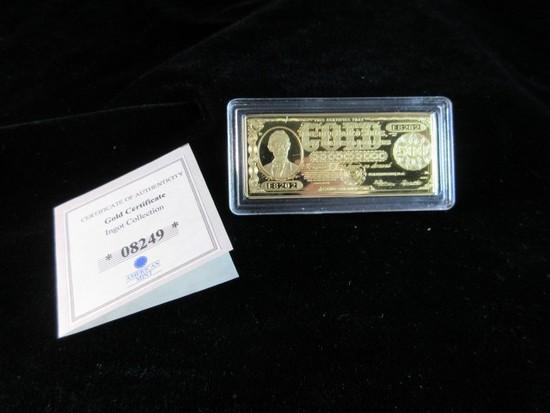 Gold Certificate Replica 24K Gold Overlay