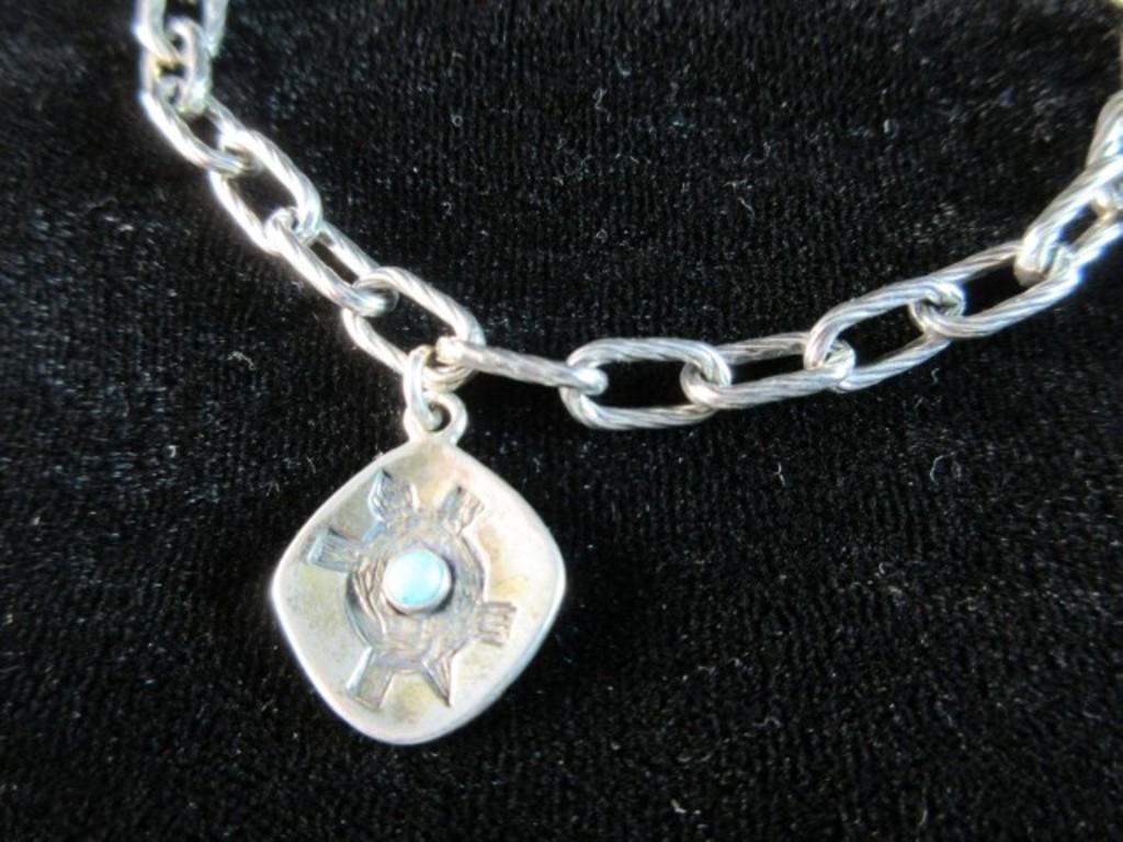 Signature AR Native American Turquoise Stone Bracelet