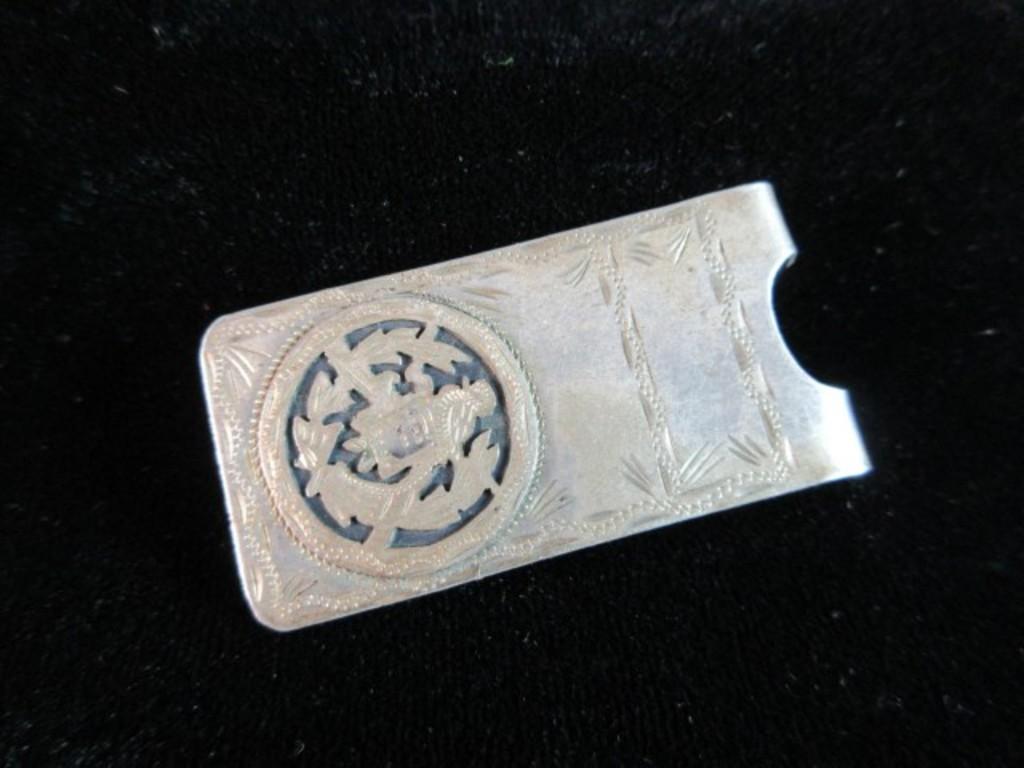 Antique 900 Silver Mexico Money Clip