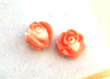 3.18 Carat Matched Pair of Carved Mediterranean Coral Flowers