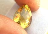 10.05 Carat Very Fine Pear Checkerboard Cut Lemon Citrine