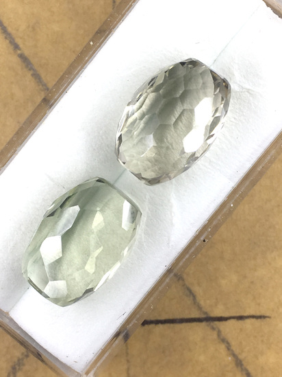 Green Amethyst Barrel Shaped Matched Pair 18.93 ct