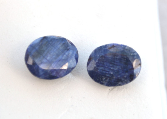 9.06 Carat Matched Pair of Blue Sapphire
