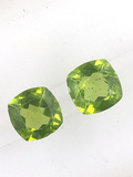Matched Pair of Peridot Cushion Cut 4.12 ct