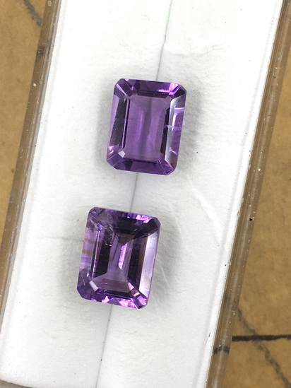 Amethyst Emerald Cut Matched Set 4.69 ct