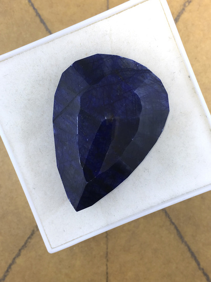 Huge Blue Sapphire Natural Teardrop 73.16 cts