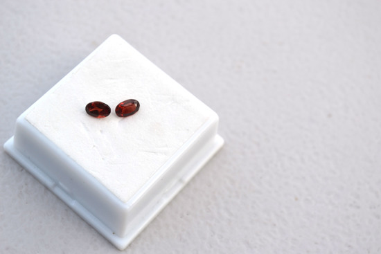 2.45 Carat Matched Pair of Fine Red Garnets
