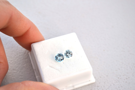 2.18 Carat Matched Pair of Sky Blue Topaz