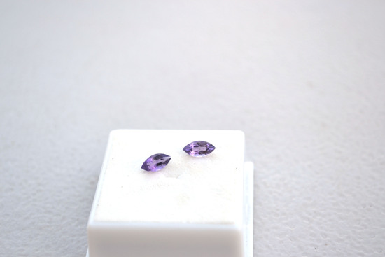 1.01 Carat Great Matched Pair of Marquise Cut Amethyst