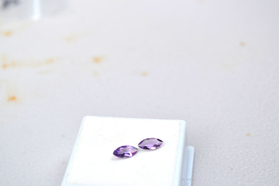 0.80 Carat Very Fine Matched Pair of Marquise Cut Amethyst