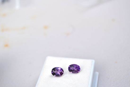 2.50 Carat Matched Pair of Fantastic Oval Cut Amethyst