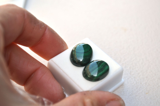 32.27 Carat Matched Pair of Nice Malachite Cabochons