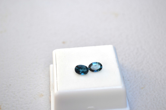 2.03 Carat Fantastic Matched Pair of London Blue Topaz