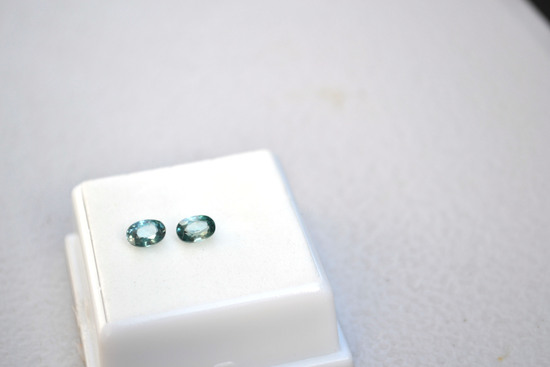 1.75 Carat Matched Pair of Blue Zircons