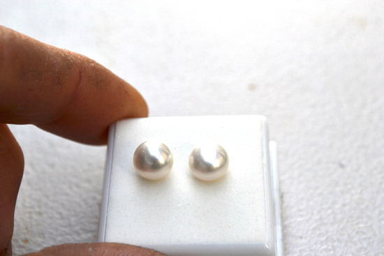 6.73 Carat Matched Pair of Fine Pearls