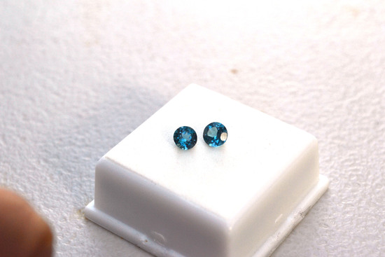 1.30 Carat Fine Matched Pair of Swiss Blue Topaz