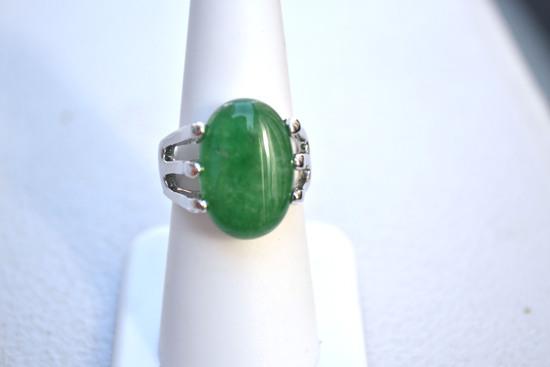 Fine Green Jasper Ring -- 9.60 Grams