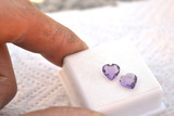 2.21 Carat Matched Pair of Fine Amethyst Hearts