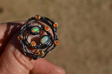 Phenomenal Opal and Carnelian Ring in Sterling Silver -- 9.34 Grams, Size 8.75