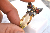 Absolutely Gorgeous Citrine, Garnet and Topaz Butterfly Pendant in Sterling Silver