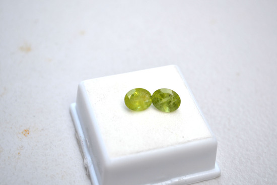 4.10 Carat Matched Pair of Oval Cut Peridots