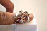 Great Garnet and Amethyst Ring in Sterling Silver -- Size 7.5