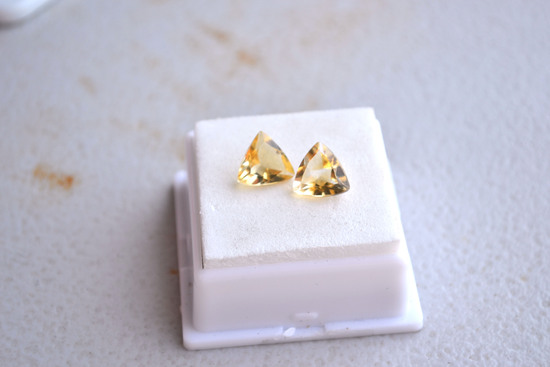 4.02 Carat Matched Pair of Fine Trillion Cut Citrines
