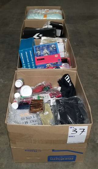 (4)  BOXES ~ UNCLAIMED PRODUCT & SOME RETURNS