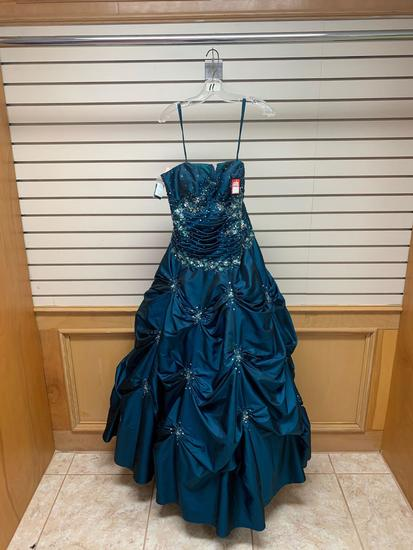 ??? 7017 Teal Dress, Size 12