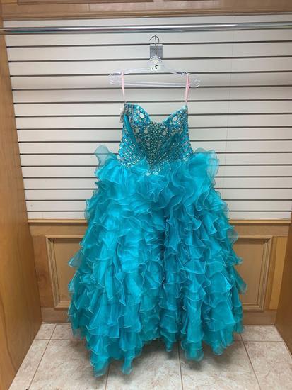 Mane 40987 Teal Dress, Size 10