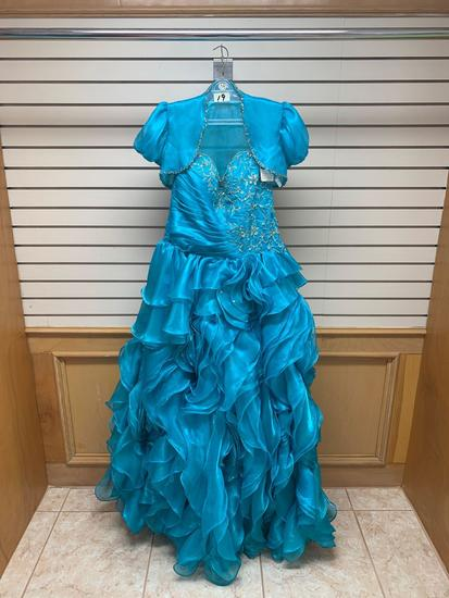 Mary's 4234 Turquoise Dress, Size 12