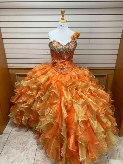 Davinci Orange Dress, Size 12