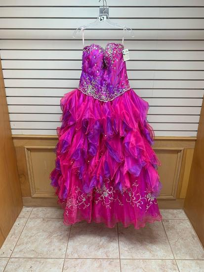 Princess 4Q768 Magenta Dress, Size 10